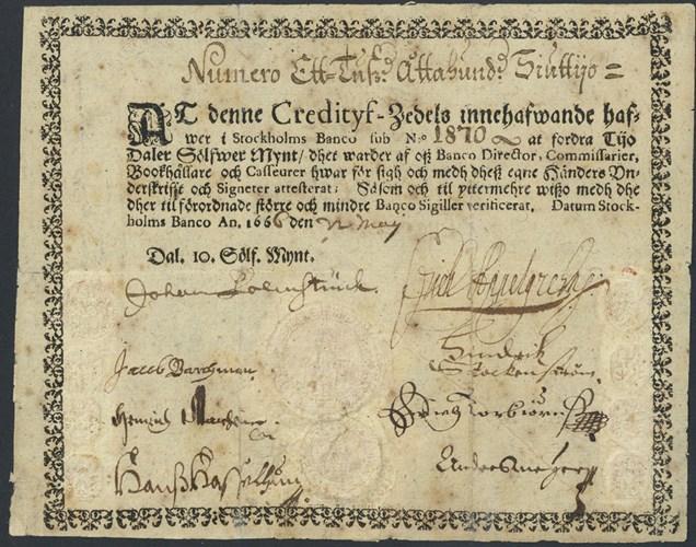 Prima bancnota din istorie